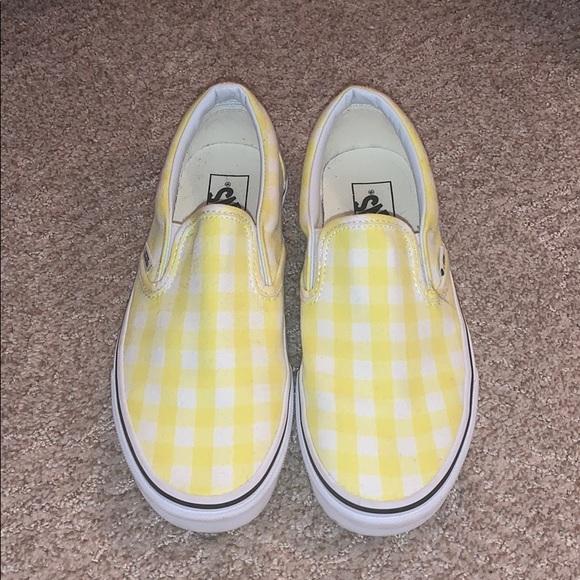 Vans Shoes | Slip On Yellow Gingham